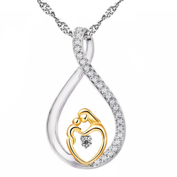 Moms Jewelry Birthday Gift For Mother Baby Heart Charm Pendant Mom Daughter Son Child Family Love Cubic Chain Necklace K3315