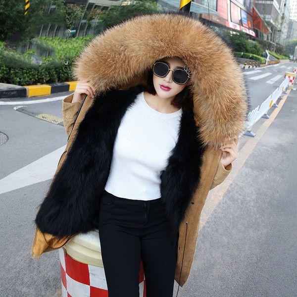 Real fur liner corduroy coats women's natural raccoon dog fur collar hooded jackets woman parkas 2018 autumn winter
