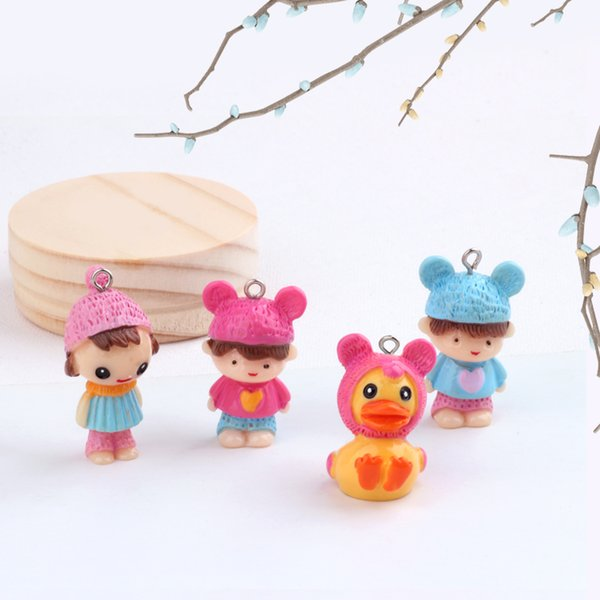 Min order 10pcs/lot cartoon hats girls/boys/duck shape Resin beads charms diy jewelry garments/keychain pendant accessory