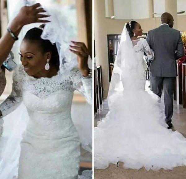 eb7e7b5ea48e Vintage African Plus size Wedding Dresses 2019 Hot Sale Scoop Neck Long  Sleeves Lace Mermaid Applique