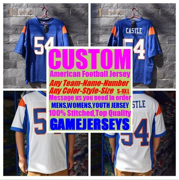top popular Custom college american football jerseys mens womens youth kids soccer rugby stitched authentic jersey 4xl 5xl 6xl 7xl 8xl Sports Apparel 2019