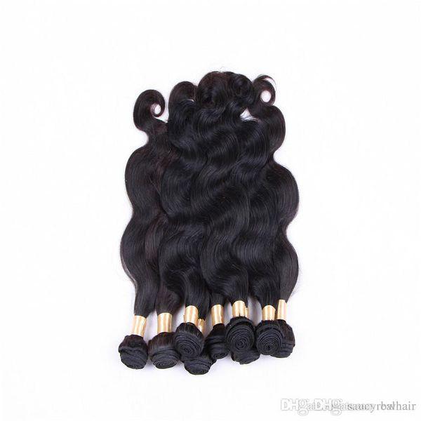 Körperwellen-Haar-Einschlagfaden 3 bündelt 100% menschliches Haar brasilianische peruanische Haarverlängerungen natürliche Farbe 1b 12-28 Zoll, freies DHL