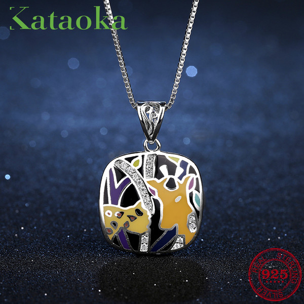Round square Magical Animal pattern Pendant Necklace for women 925 Sterling Silver Charms CZ Fashion Jewelry Party Gift Enamel