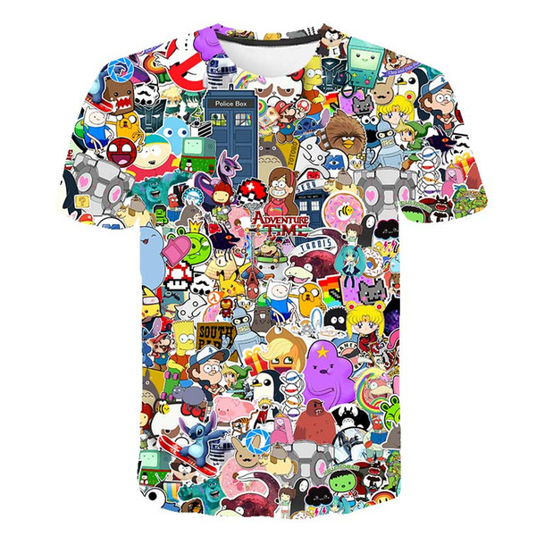 Cloudstyle 2018 Anime T-Shirt Männer / Frauen 3D-Druck Gintama BLEACH T-Shirt Cartoon Puzzle Naruto Sommermode Streetwear Tops
