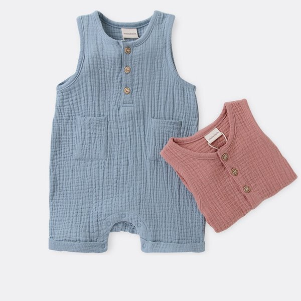 Baby Boy Girl Round Neck Overalls Rompers Solid Blue Pink Organic Cotton Front Button Pocket Newborn Sleeveless Bodysuits Summer Onesies
