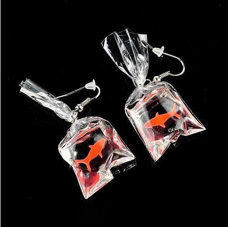 Funny Goldfish Earrings, Water Bag Shape Dangle Hook Earrings Charm Jewelry Gift Earrings for Women Girls