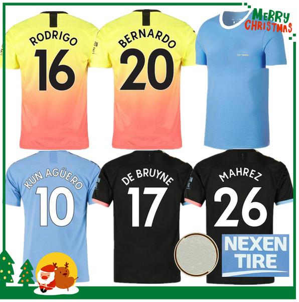 19 20 Manchester Futbol Forması ŞEHIR MEMPHIS MATA 2019 2020 KUN AGUERO STERLING DE BRUYNE SILVA Spor futbol gömlek yetişkin çocuk kiti seti