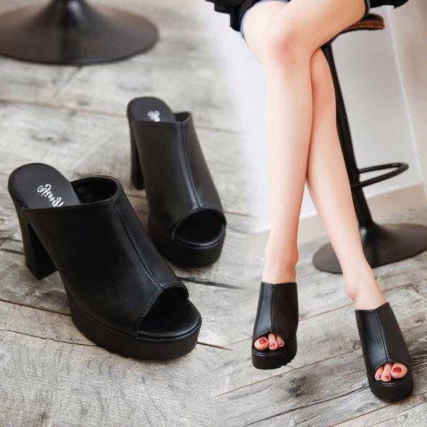 2018 новый черный толщиной с нескользящей тапочки мода сексуальная рыба рот водонепроницаемый платформы 10 см на высоком каблуке тапочки.