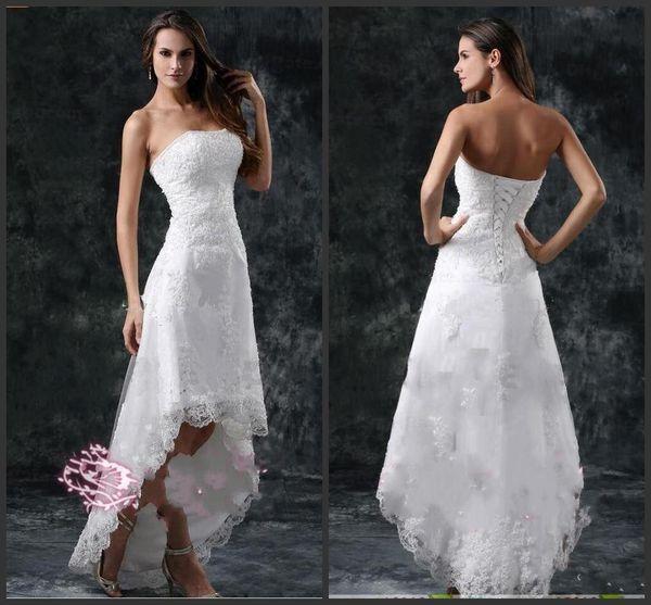 2019 Novos Vestidos de Casamento Sexy Strapless Apliques de Renda Alta Baixa Pouco Marfim Branco Lace Up Voltar Verão Praia Vestidos de Noiva Curto 1171