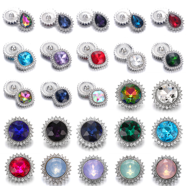 High Quality Noosa Snap Jewelry 18mm Metal Snap Buttons Jewelry Colorful Rhinestone Water Droplets Buttons Fit 18mm Snap Bracelet Jewelry