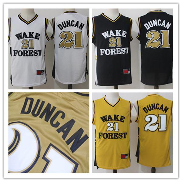 NCAA 2019 En Kaliteli erkek Tim # 21 Duncan Örgü Basketbol Forması Yetişkin Nakış Logolar ve 100% Dikişli Hızlı Duncan Formalar Ücrets ...