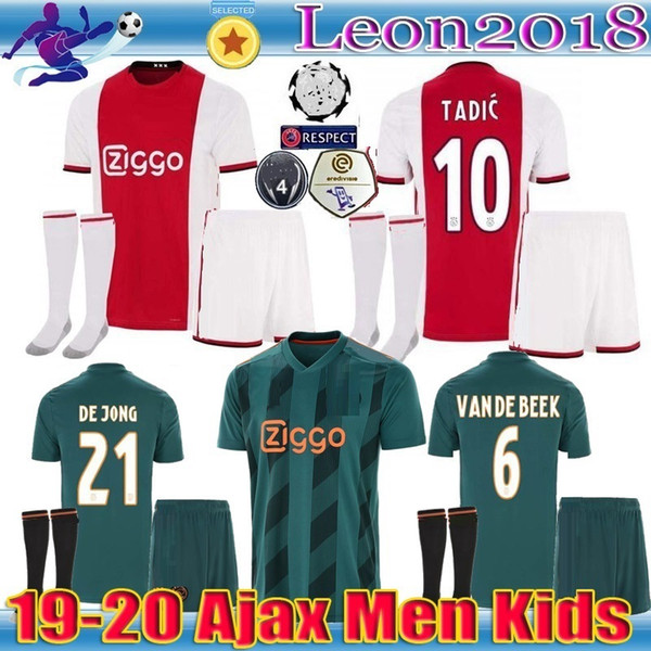 top popular Adult kids 2019 2020 Ajax FC Soccer Jersey home Away 19 20 Customized NERES TADIC DE LIGT ZIYECH men youth Football jerseys Shirt 2019