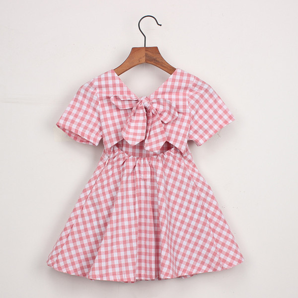 girl kids clothes dress summer girl kids plaid back hollow out dress kids round collar short sleeve elegant dress 2 colors