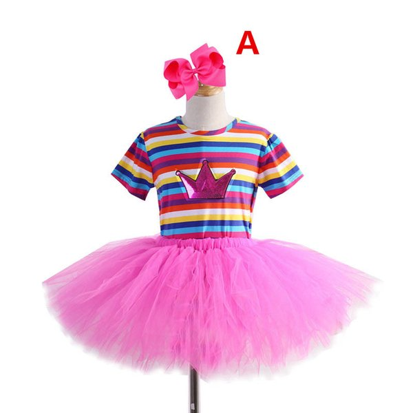 Girls suits girls outfits birthday party kids sets stripe t shirts+Tutu Skirts+bows headband kids designer clothes girls dance skirt A5732
