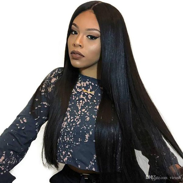 Long Straight Wig Peruvian Human With Bangs Remy Baby Hair For Women Straight Black Hair for Black Women Remy Hair