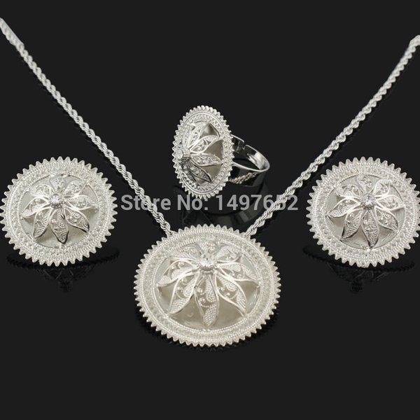 ethiopian pendant/earrings/ring/necklace jewelry silver plated habesha jewelry african 4pcs wedding sets