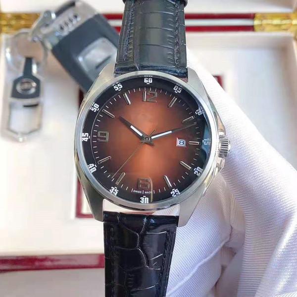 orologio calendario unico specchio di cristallo cinturino in pelle di diametro 42 millimetri di grado superiore nucleo automatica a tre aghi uomo di lusso 2020