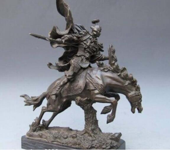 Медь Латунь КИТАЙСКОЕ ремесло декорации Азиатская Китайская Чистая Бронза Троецарствие ЧжаоЮнь Статуя воина