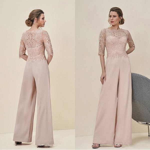 2019 New Design Women One Piece Jumpsuits Dresses Evening Wear Pearl Pink Lace Bodice Chiffon Column Pants Half Length Sleeves Women Rompers