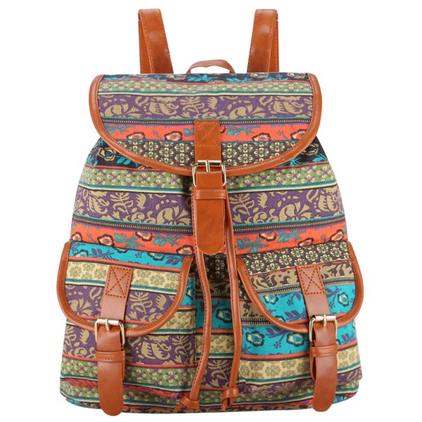 Wholesale- Sansarya 30 Colors Female Vintage Rucksack Printing Canvas Women Backpack Bohemian Grils School Bag Sac a Dos Drawstring Bag