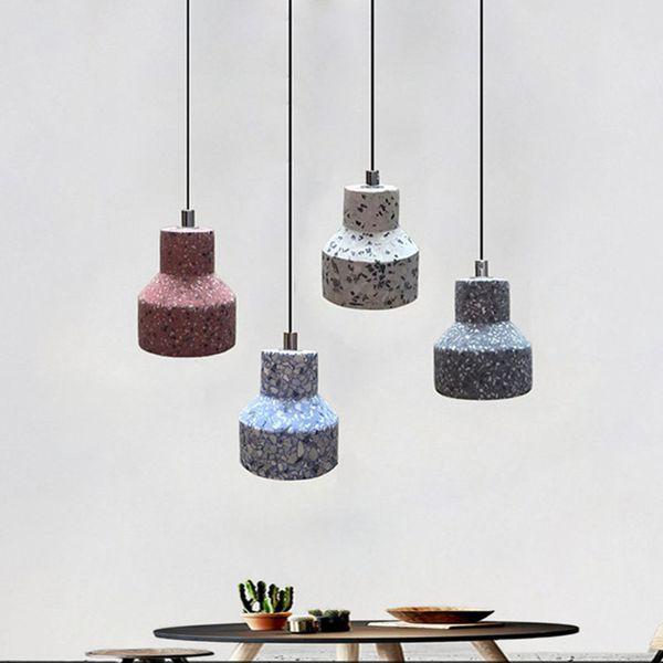 Loft industrial led single pendant lighting retro staircase dining room bar design terrazzo cement hanging lamp