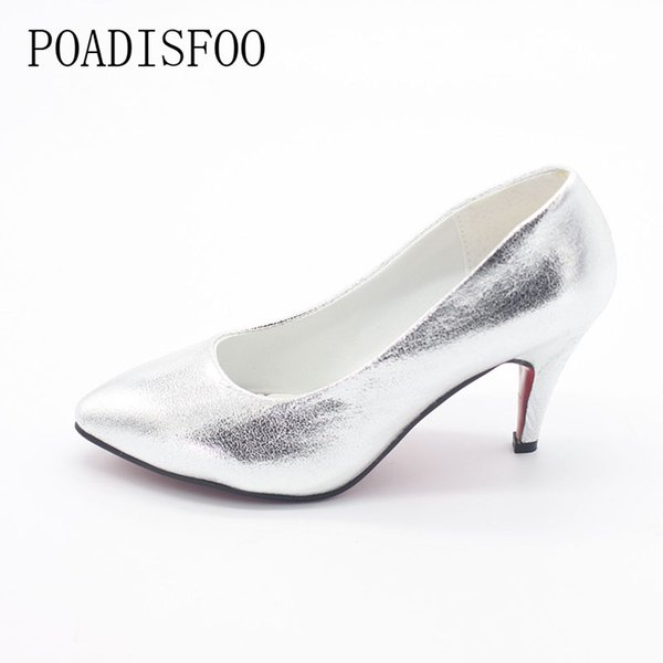 Designer Dress Shoes 2019 Spring And Summer New Korean Style Women Pointed High Heels Silver Golden Shiny Wedding .LSS-707