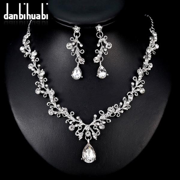 danbihuabi 2018 elegante set di gioielli da sposa bianco k cristallo collana goccia d'acqua orecchini set di gioielli costume per le donne
