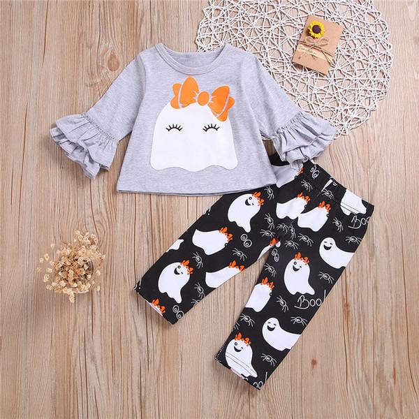 Yeni Sonbahar Kız çocuk giyim Seti 3M-4Y Sevimli Karikatür Baskı üst + desen pantolon 2 adet çocuk giysi tasarımcısı kızlar JY500