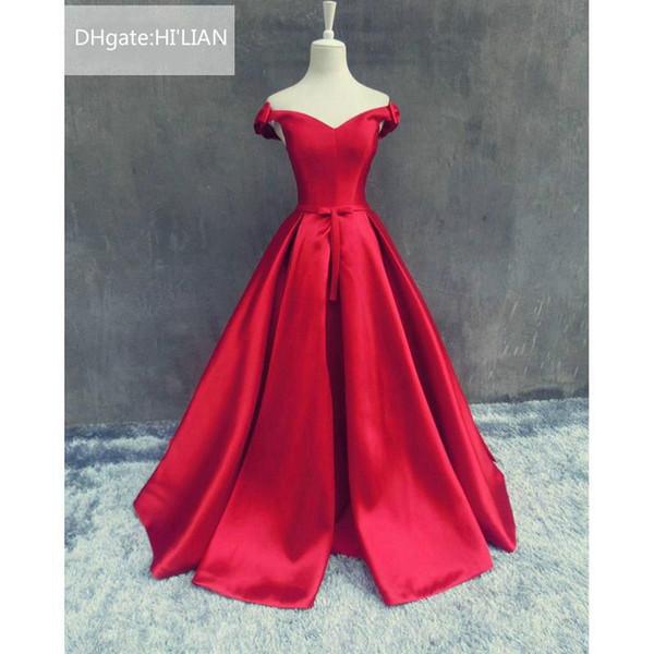 d39b89396 Red V Cuello sin mangas Longitud suave del satén Piso Una línea Vestido de noche  Vestido