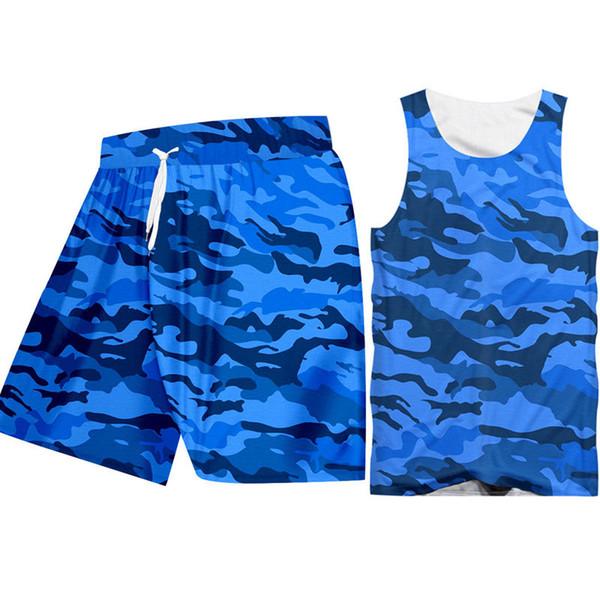 Retro Sleeveless Camo Tank Tops Shorts Men's Workout Sets Custom Blue Camouflage Print Hoodie Vest Shirts Shorts Sportsuit Sets