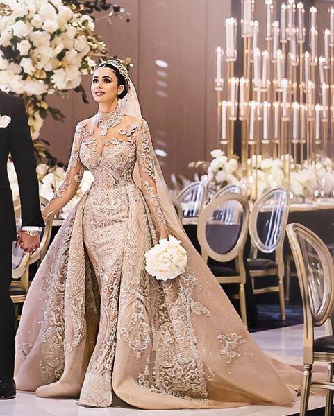 Acheter Robes De Mariee Sirene De Luxe De Champagne Avec Train Detachable Col Haut 3d Dentelle Manches Longues Robes De Mariee Robe De Mariee De