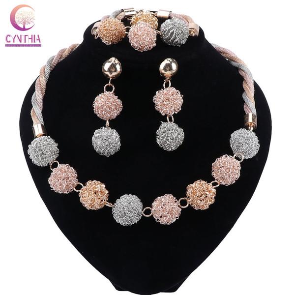 CYNTHIA Bridal Gift Nigerian Wedding African Beads Jewelry Set Brand Woman Fashion Dubai Gold Color Jewelry Set
