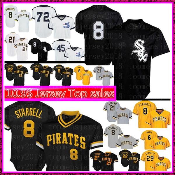 Chicago White Sox Mens 8 Bo Jackson Jersey Pittsburgh Pirates Top 8 Willie Stargell baseball 72 Carlton Fisk 21 Roberto Clemente 2020