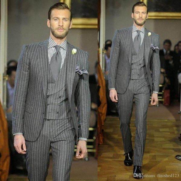 Özel yapılmış Yeni Tasarım Gri Şerit Erkek Düğün Blazer Suits (Ceket + Pantolon + Yelek + Kravat) Damat Smokin Groomsmen En İyi Adam Suits