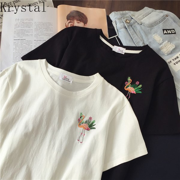 T-shirts Women New Fashion Breathable Short Sleeve T-shirt Womens Embroidery Loose Female Sweet Casual Korean Style Girls Drop Shipping
