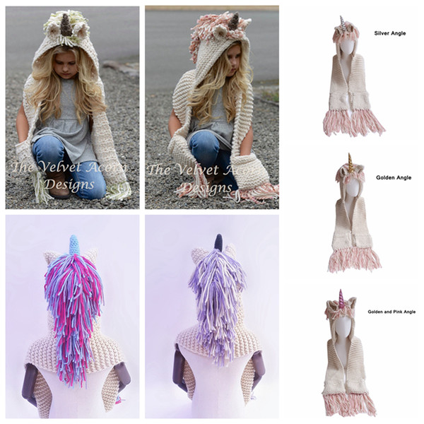 top popular AMUSE 2 in 1 unicorn scarf cap Large size Kids Infant Llama Warm Knitted Hats Children cartoon warmer Winter crochet Hat LJJA1013 2021