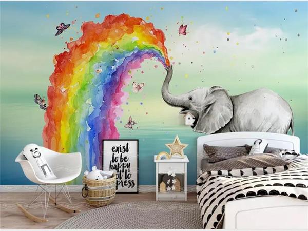 Großhandel Benutzerdefinierte Größe 3d Fototapete Kinderzimmer Wandbild  Meer Elefant Wassersäule 3d Bild Sofa Tv Hintergrund Wand Tapete Vlies ...