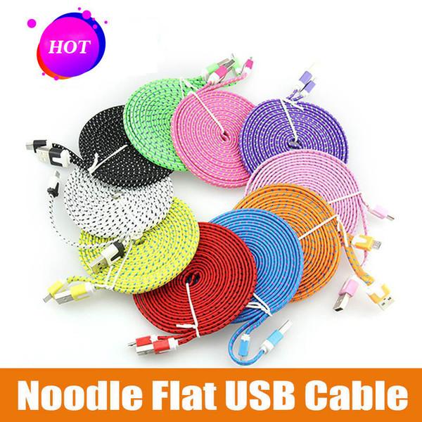 10FT 6ft 3FT Şehriye Düz Örgü Şarj Kablosu 10 Renk Senk Kumaş Mikro Tel USB Veri Dokuma Kablo Hattı Samsung S6 S7 KENAR S8 S9