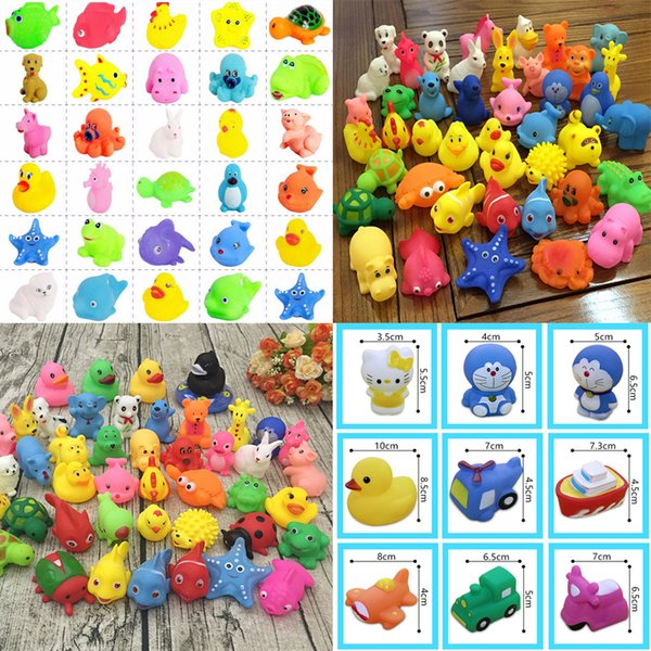 Factory wholesale Baby Bath Toys Water Floating Dolls Animal Cartoon Yellow Ducks Starfish Children Swiming Beach Rubber Toys for Kids Gifts