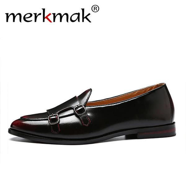 Merkmak Erkekler Loafer'lar Adam Iş Elbise Ayakkabı Için Zarif Deri Ayakkabı Zarif Moda erkek Yassı Büyük Boy 37-48