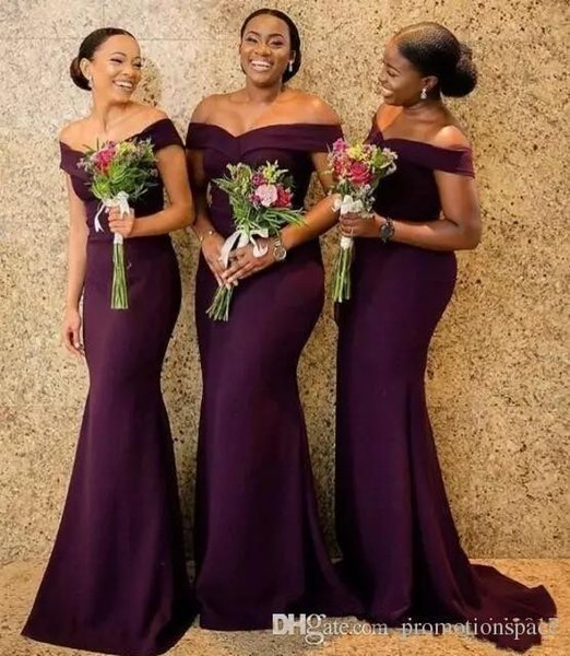 top popular 2019 Grape Satin Mermaid Bridesmaid Dresses Saudi African Off The Shoulder African Maid Of Honer Dress Plus Size Wedding Guest Gowns 2019