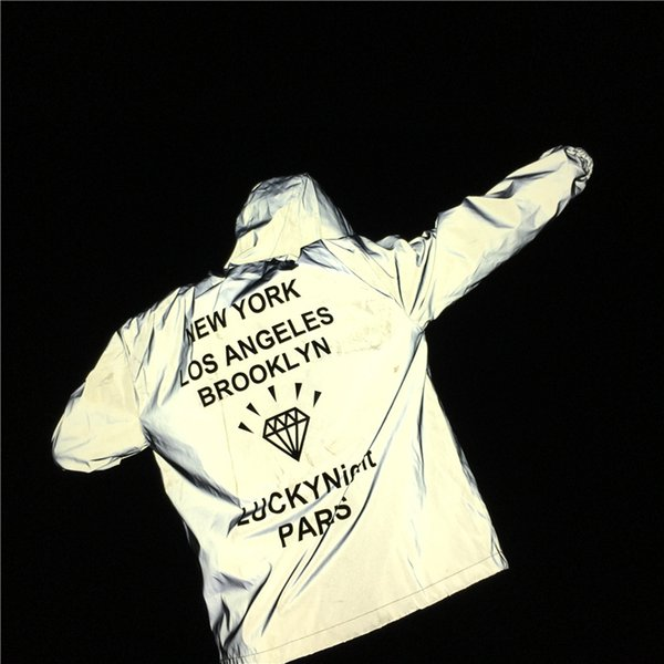 Hommes 3 M Veste Réfléchissante Diamant Imprimer Lettres NEW YORK BROOKLYN À Capuche Veste Casual Manteaux Coupe-Vent Vestes