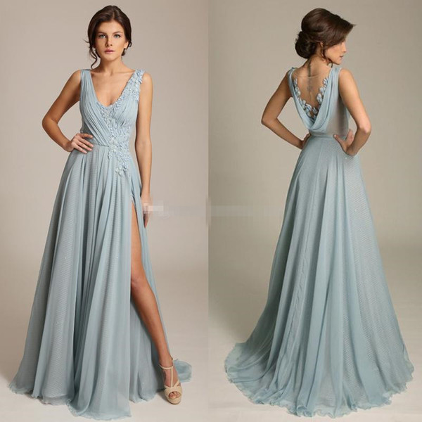 2017 Gorgeous Blue Chiffon Evening Dresses V Neck Sleeveless Appliques Draped Back High Split Floor Length Backless Long Prom Dresses