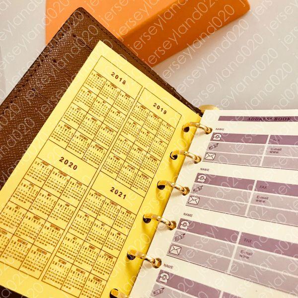 MEDIUM KLEINE RING AGENDA COVER Designer Damenmode Notebook Kreditkarteninhaber Fall Luxus Brieftasche Ikonischen Braun Wasserdichte Leinwand R20105