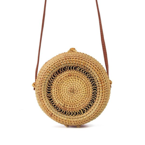 Ins estilo hecho a mano ronda bolsa de ratán moda natural ahueca hacia fuera tejido bolso de playa para las mujeres bonito regalo