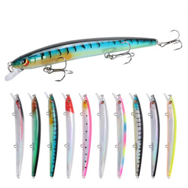 13.8cm 15.4g Fishing Lure Minnow Artificial Bait Diving 0.3-1M 3D Eyes Crankbaits Swimbait 6# Hook Hard Plastic Lures LJJZ358