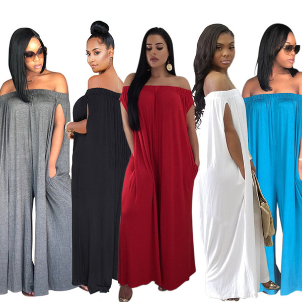 8700ad7fb Women Sleeveless Loose Jumpsuit Rompers off shoulder Spring Summer Long  Jumpsuit Casual jumpsuit Rompers sexy clothes plus size S-3XL Pure