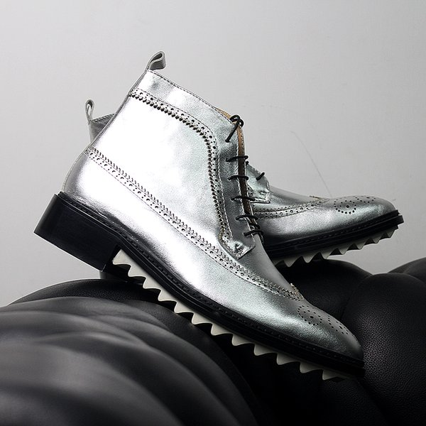 2019 New Fall Winter Silver Boots Cow Full Grain Leather Mens Martin Boots Motorycycle Shoes Free Shipping