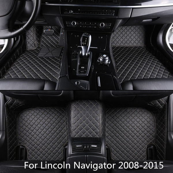 Man-Made New Leather Car Floor Mats For Lincoln Navigator 2008-2015 Front and Second Row Offered 3 Pieces Car Mats