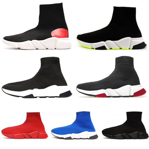 Lüks hız eğitmeni erkek tasarımcı çorap ayakkabı beyaz kırmızı popo eğitmenler étoile glitter sneakers pembe bayan spor rahat çorap ayakkabı çizmeler